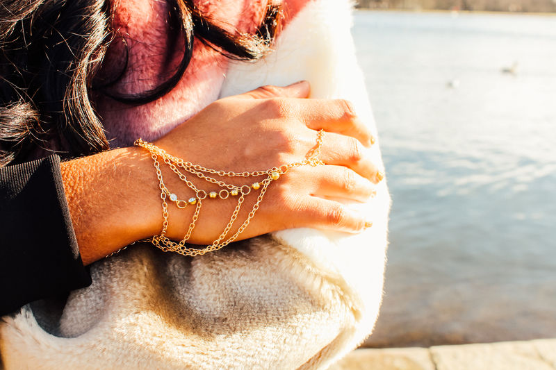 Grace Gold Tassel Hand Chain Bracelet - product images  of