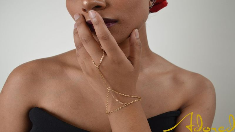 Modesty Gold Hand Chain - product images  of