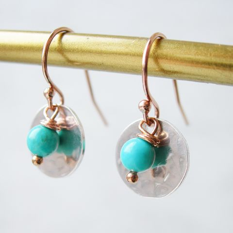 Turquoise,,Rose,Gold,and,Silver,Earrings,rose gold earrings, turquoise earrings, hazey designs