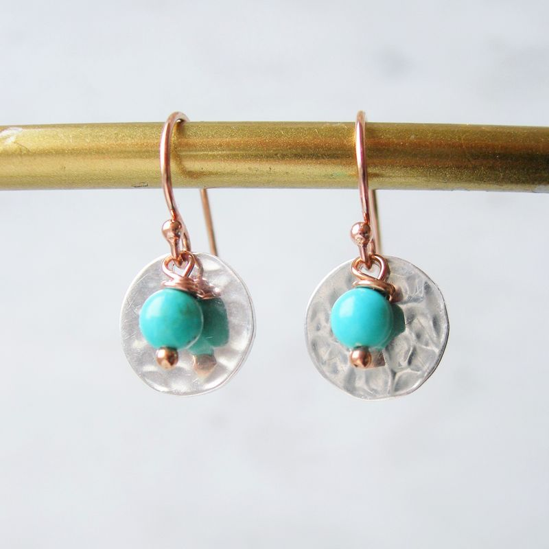 Turquoise, Rose Gold and Silver Earrings - product images  of
