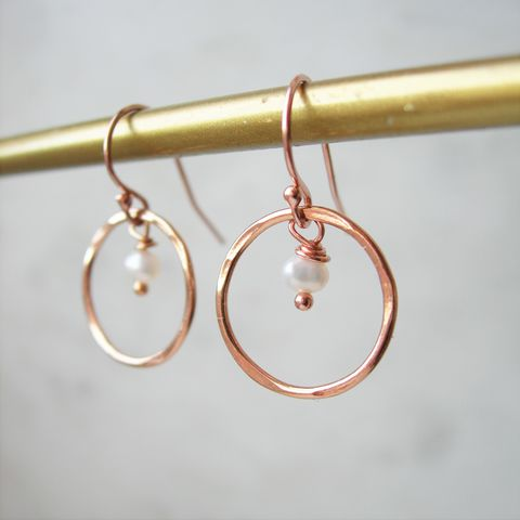 Pearl,Rolled,Rose,Gold,Earrings,rose gold earrings, hazey designs, pearl earrings, june birthstone, wedding earrings