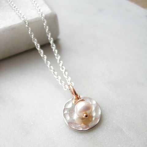 Hammered,Silver,and,Pearl,Necklace,pearl necklace, handmade jewelelry, rose gold jewellery, hazey designs