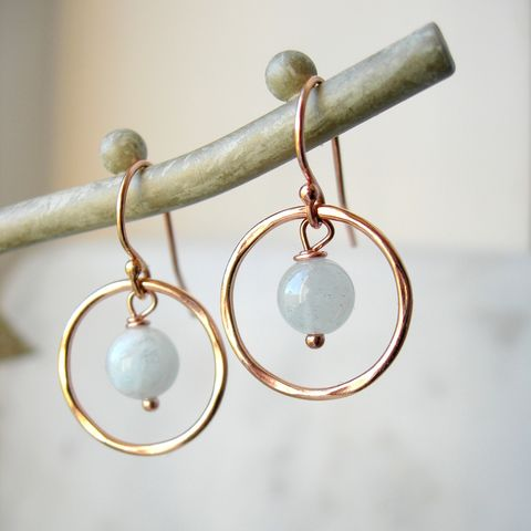 Aquamarine,Rose,Gold,Earrings,rose gold earrings, aquamarine earrings, birthstone earrings, hazey designs, rose gold filled jewellery