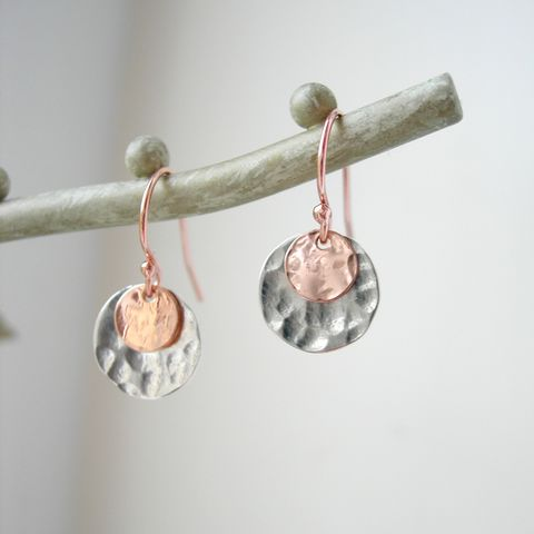 Hammered,Silver,and,Rose,Gold,Disc,Earrings,rose gold earrings, handmade silver earrings, hazey designs