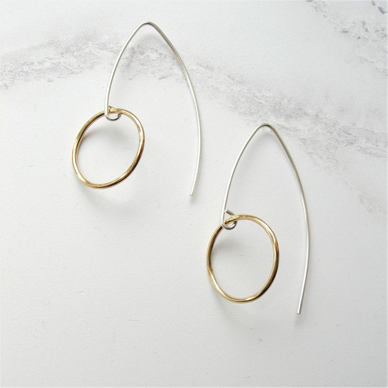 Silver and Gold Circle Earrings - product images  of
