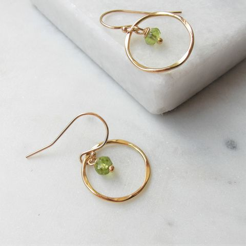 Peridot,And,Rolled,Gold,Earrings,peridot earrings, august birthstone, hazey designs, gold earrings