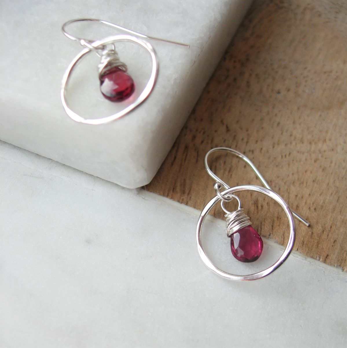 7dd98fd62 Loading... Garnet Drops Silver Circle Earrings - product images of