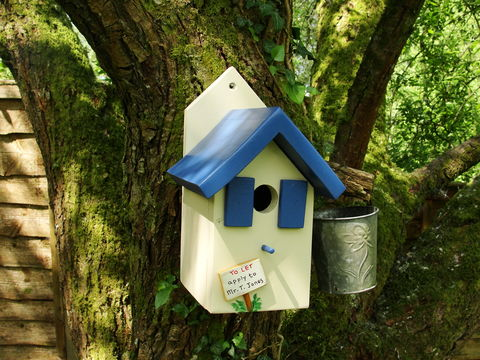 Personalised,Handcrafted,Blue,Bird,House,gift for fathers day, gift for the garden, decorative bird houses, bird houses for sale, encouraging birds to the garden, gift for a gardener, wildlife houses for sale, siop gardd, gifts from Wales, Snowdonia,