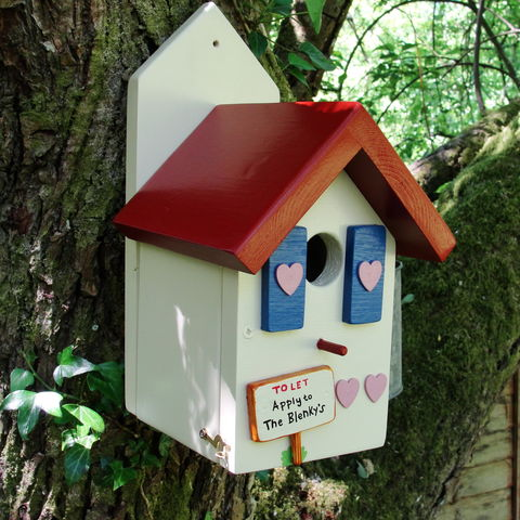 Personalised,Handcrafted,Country,Cottage,Bird,House,gift for garden -  gift for gardener - gift for fathers day - bird house - bird box - bird friendly garden - wildlife houses - encouraging birds to the garden - decorative bird houses - bird houses for sale - personalised gift - gift for bird lover - bird
