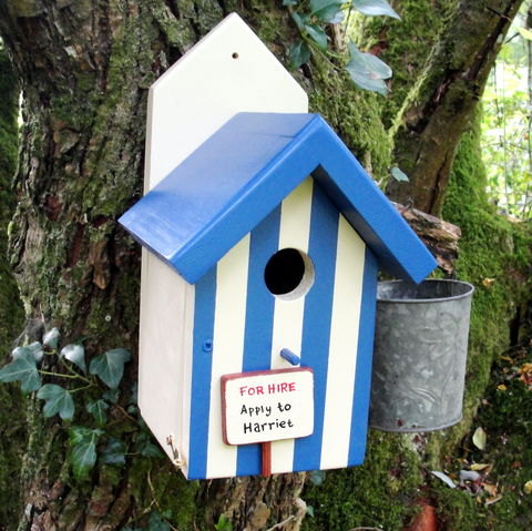 Personalised,Handcrafted,Beach,Hut,Style,Bird,House,gift for the garden, fathers day gift, house warming gift, new home gift, decorative bird houses, wildlife houses,gift for gardener, bird house gift, encouraging birds to the garden, siop gardd, bird houses for sale, British birds,
