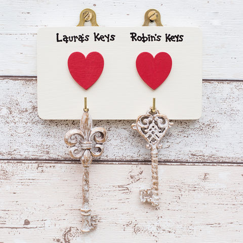 Personalised,Two,Heart,Key,Hook,Hanger,personalised key hanger - wedding - house warming - new home - couples gift - Valentines Day - personalised gift for home