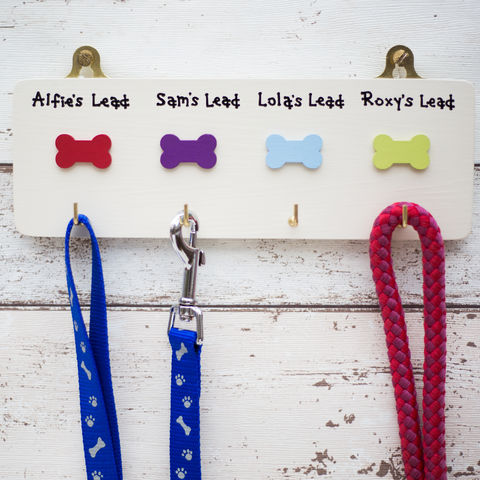 Personalised,Dog,Lead,Four,Hanger,dog - pet - personalised dog lead hook - father's day gift - mother's day gift - animals - gift for dog owner - dog lover gift - grandparents gift - handmade in Britain - pets - gifts for pets - new puppy - Wales - Welsh