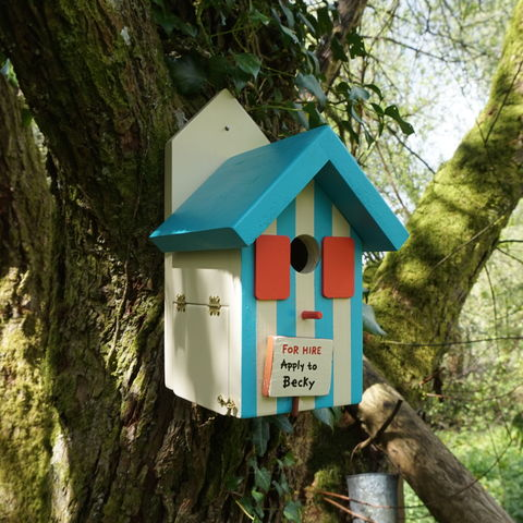 Personalised,Bird,House,with,Stripes,bird house, personalised bird house, bird box, nesting box, bird house with stripes, wildlife house, garden feature, gardening, gift for a gardener, gardens, British birds, handmade bird house, made in Wales, welsh product