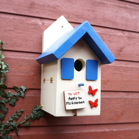 Personalised,Bird,House,with,Butterflies,Personalised bird house, bird box, birdhouses, butterflies, nesting box, wildlife house, made in Wales, Welsh products, Handcrafted, eco friendly, Handmade in Snowdonia,