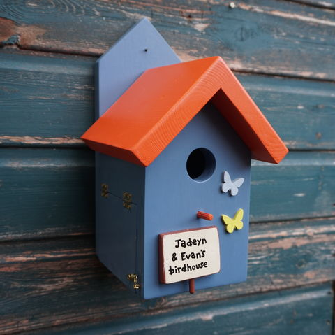 Personalised,Bird,House,with,Blue,and,Yellow,Butterflies,birdhouse, personalised bird houses, bird box, nesting box, wildlife house, decorative bird houses, garden feature, gift for gardener, gardening, wild birds, British birds, home and garden decor