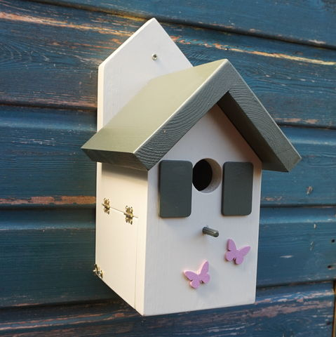 Olive,and,Pink,Bird,house,birdhouse, bird box, decorative bird houses, wildlife house, gardens, gift for gardener, gardening, nesting box, homes and gardens,