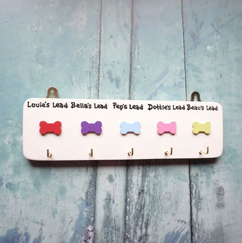 Personalised,Five,Dog,Lead,Hanger,dog lead hanger, dog lead hooks, dog lead holder, leash, lead storage, pet products, dogs, personalised gift, gift for dog owner, dog walker gift, dog sitter gift