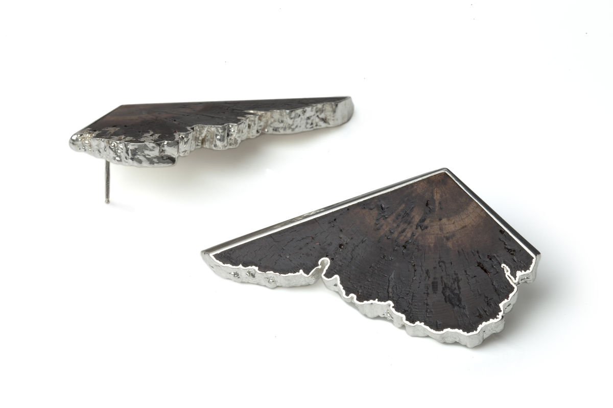 Oak and silver earrings - to order only - product images  of
