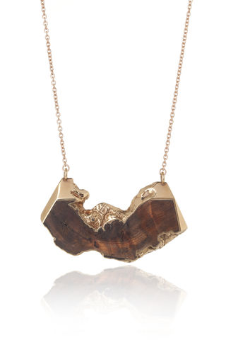 Iron,wood,and,22ct,rose,gold,plated,pendant,-,to,order,only,Rose gold wood pendant, wooden pendant, rose gold necklace, organic necklace