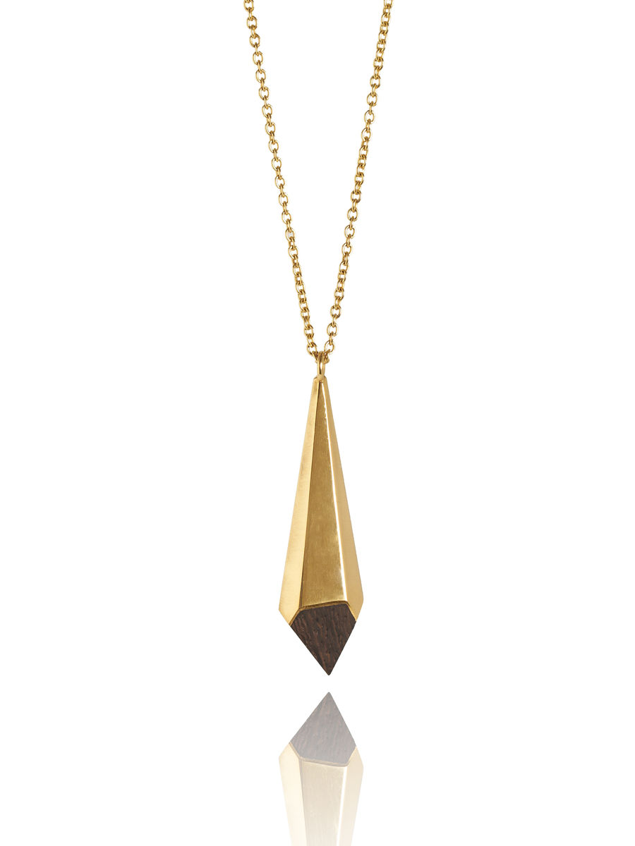 Wenge wood and gold pendant - made to order only - Diane Turner ...