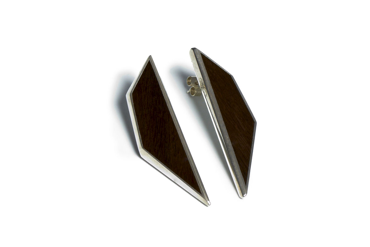 Mguru wood and silver earrings - to order only - product image