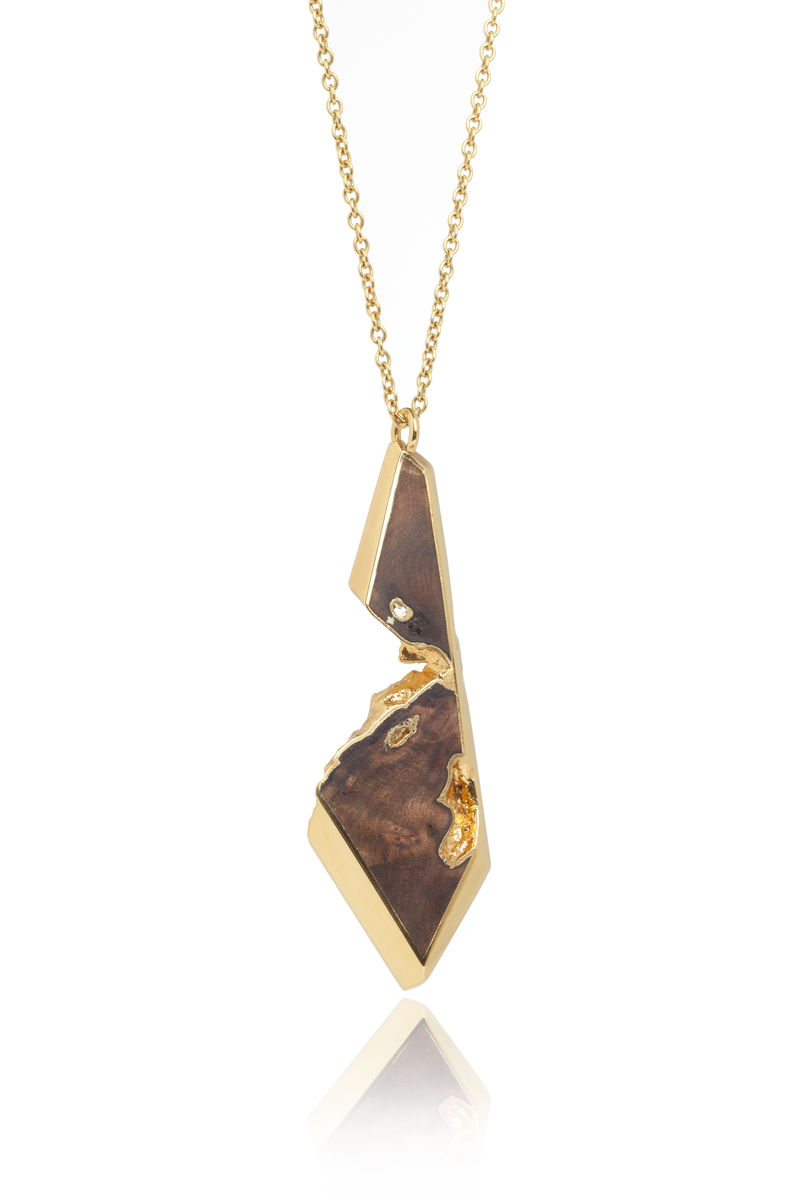 Iron wood and 22ct yellow gold plated pendant to order only