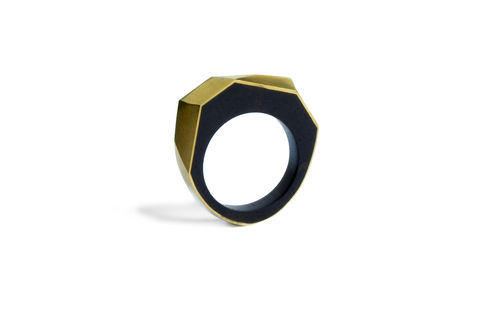 Blackwood,and,gold,ring,-,to,order,only, wooden ring, gold ring, faceted ring