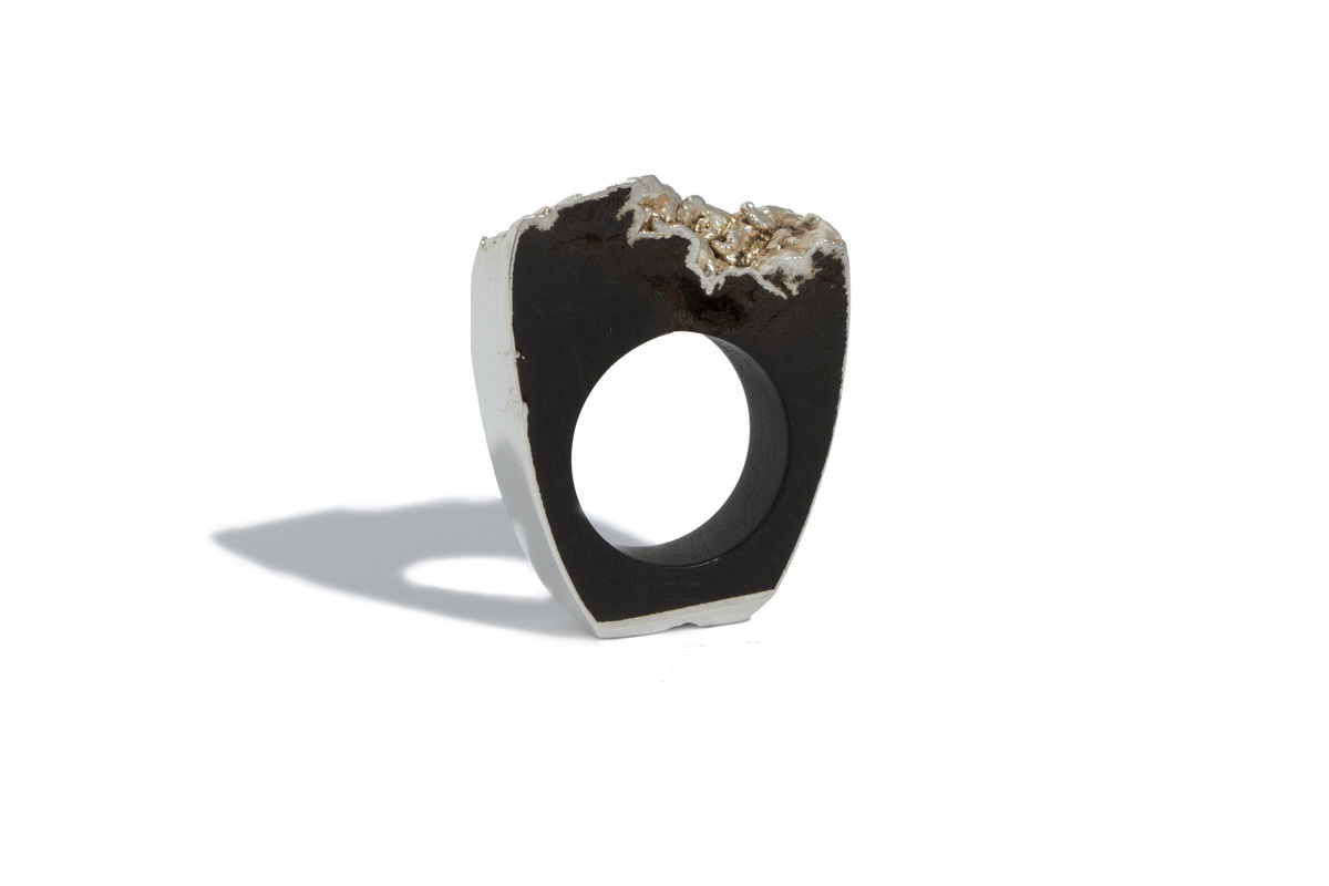 Bog oak and silver ring - made to order only - product images  of