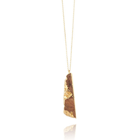Old,English,Oak,and,22ct,yellow,gold,pendant-,to,order,only,Organic necklace, wood and metal jewellery, wood and gold, 5th year anniversary gift