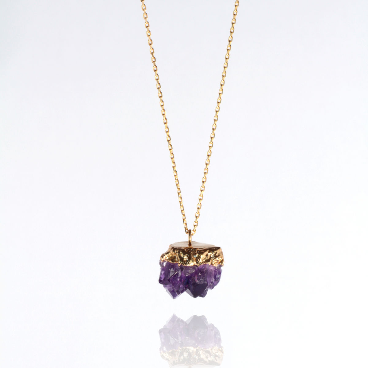 Amythest cluster & 22ct yellow gold pendant - product image