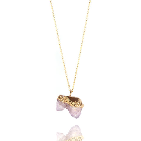 Amethyst,spirit,quartz,and,22ct,yellow,gold,pendant, amethyst crystal, amethyst cluster, amethyst necklace, February birthstone gift, Aquarius necklace, amethyst and gold, 6th wedding anniversary
