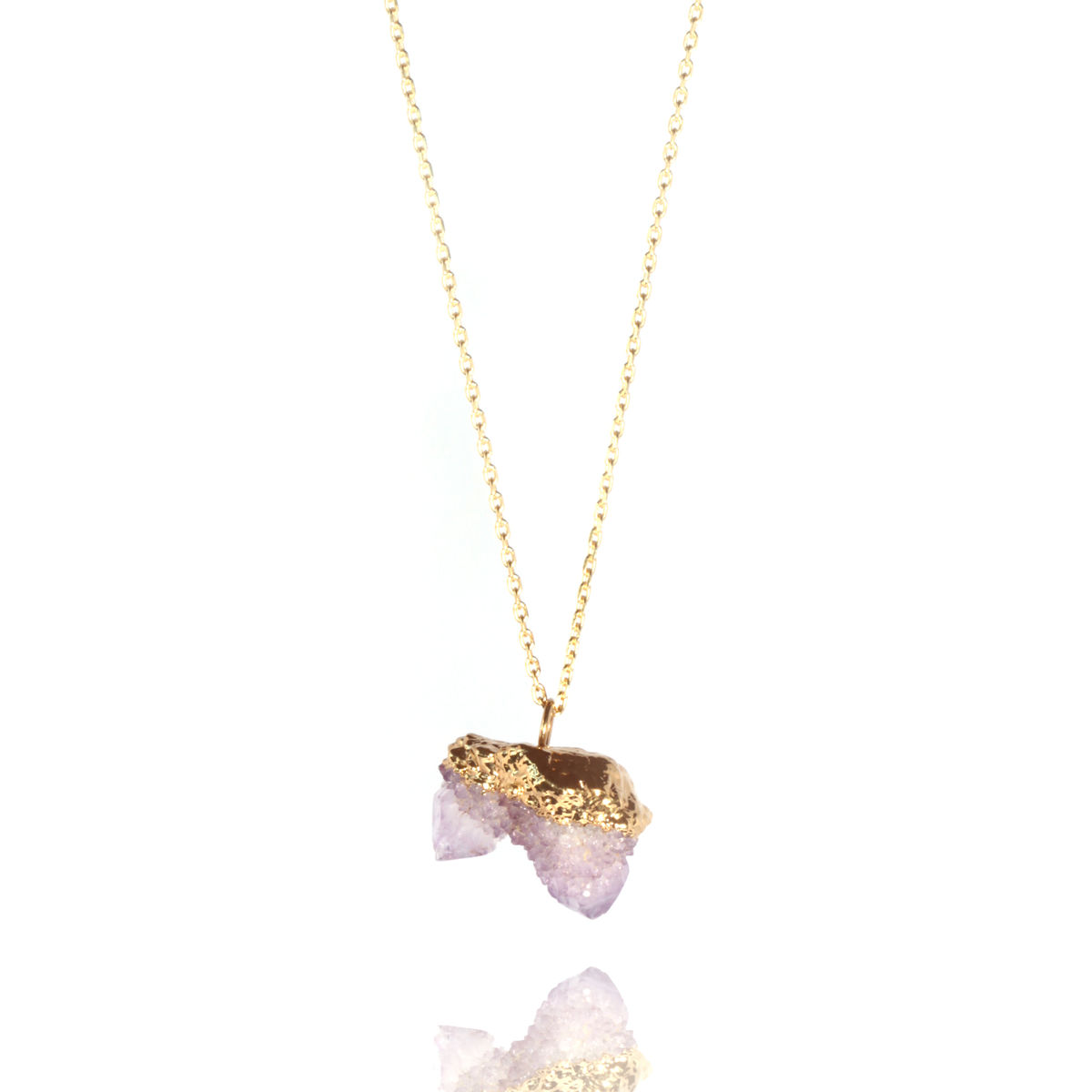 Amethyst spirit quartz and 22ct yellow gold pendant - product image