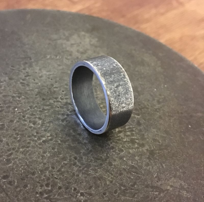 Wedding band. Heavy, Textured and Oxidised.  - product image