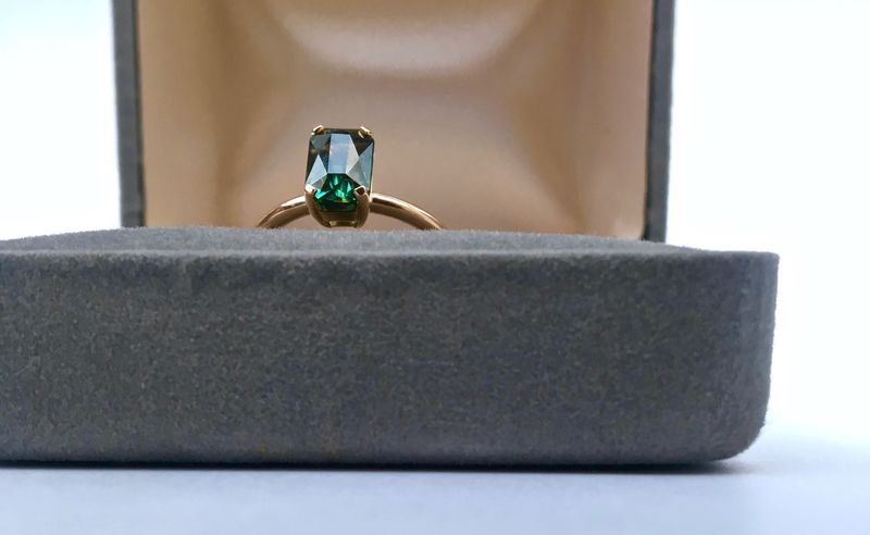 Australian Green Sapphire and Rose Gold Bespoke Engagement ring. - product image