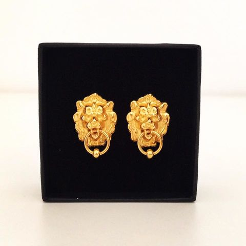 Lion,door,knocker,Earrings,silver, gold, gold plated, gold vermeil, lion, lions, lion door knocker, earrings, earring