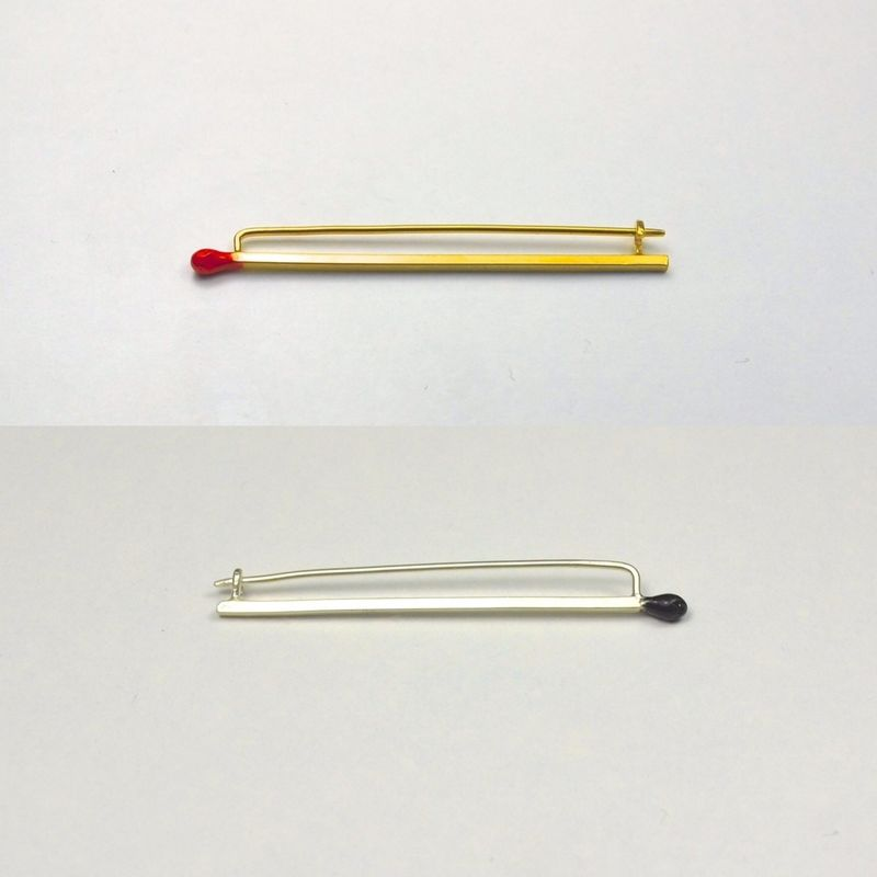 Matchstick Brooch - Silver or Gold - product image