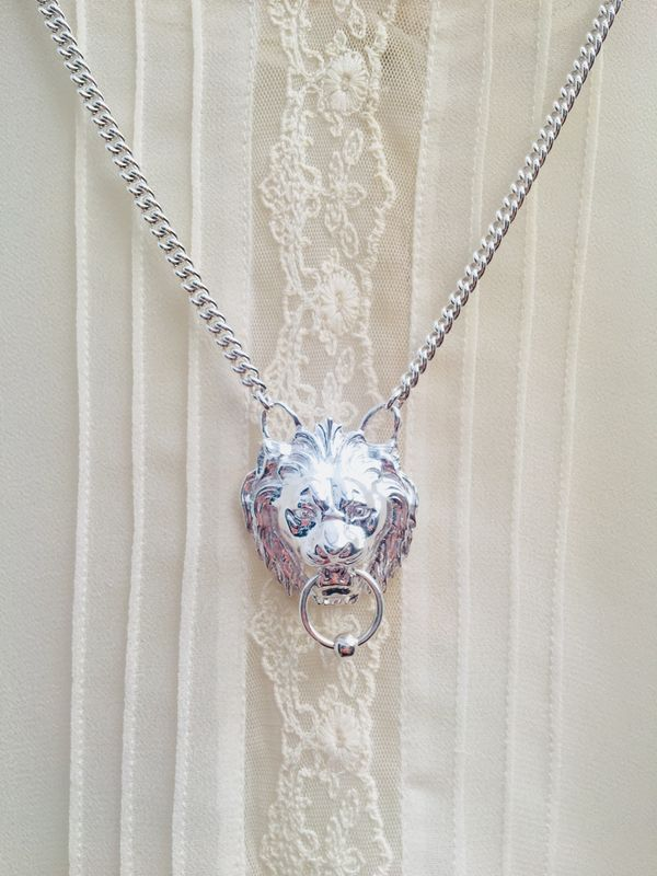 LEO Lion Door Knocker Statement Pendant SILVER or GOLD - product image