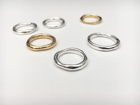 The,Wobbly,Band,Ring,silver gold ring rings wobbly irregular imperfect organic smooth wax carved cast