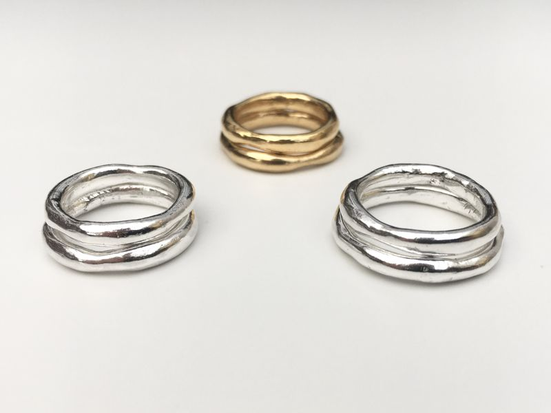 The Wobbly Band Ring - Silver & Gold - product image