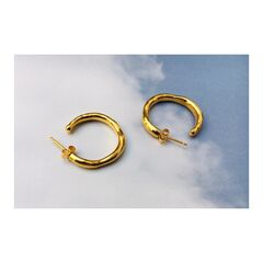 Wobbly Hoop earrings - Silver or gold. Organically carved in jewellers wax, matching ring available. - product images 3 of 5