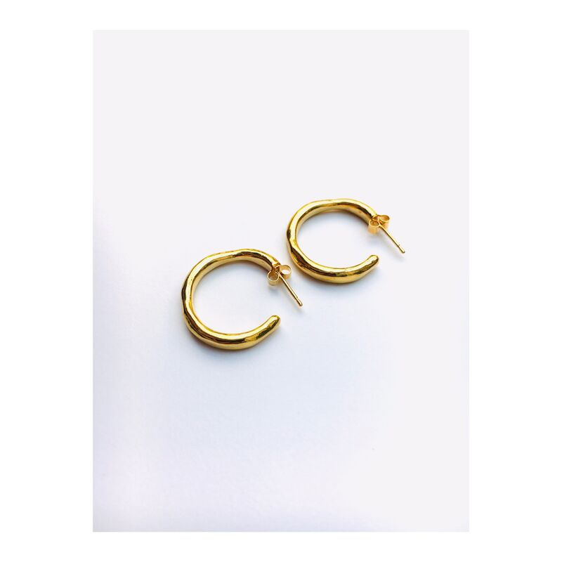 Wobbly Hoop earrings - Silver or gold. Organically carved in jewellers wax, matching ring available. - product images  of