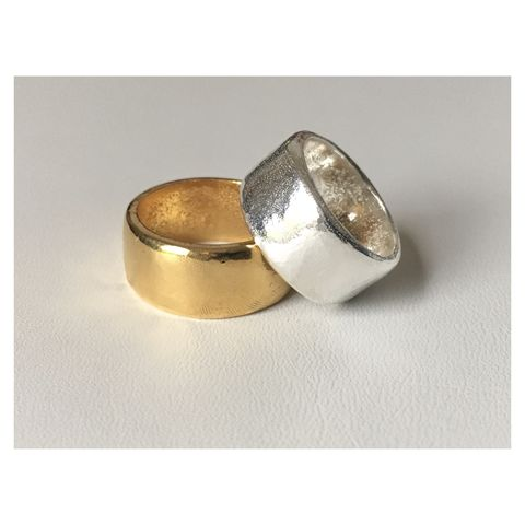 Hannah,Ring,-,Chunky,Textured,wide,band,silver,and,gold,textured, chunky, statement ring, wide band, distressed, solid silver, gold plated, gold ring, heavy silver ring