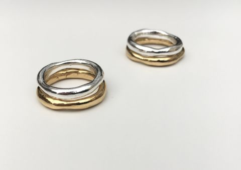 Wobbly,Band,Duet,-,1,Silver,&,Gold,stacking rings, rings, sterling silver, silver, gold, yellow gold, ring combo, ring combination, silver and gold, perfectly imperfectly