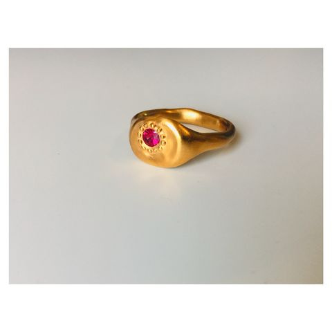 LUXE,Ruby,Signet,-,one,of,a,kind,ring,rubies, wobbly band, perfectly imperfect, organic, gold, silver, gold plated, satin finish, plum, ruby ring, gemstone rings, ruby, rubies, cast in place, one of a kind jewellery, soak, one of a kind ring, limited edit