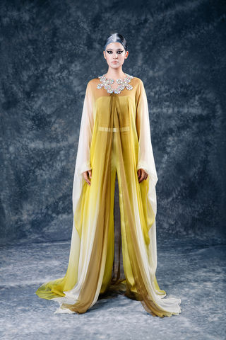 The,Xena,Cape,cape, chiffon, silk, ombre, yellow