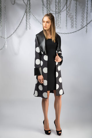 The,Domino,Coat,black, leather, polkadot, silk, coat, white