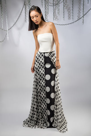 The,Domino,Maxi,Dress,black, white, leather, polkadot, silk, chiffon