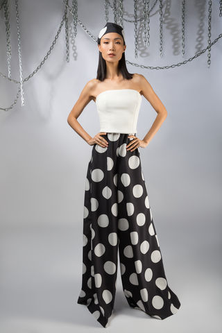 The,Domino,Jumpsuit,jumpsuit, white, leather, silk, polkadot, black