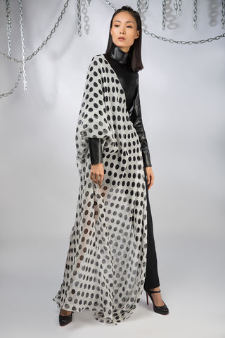 The,Domino,Kaftan,kaftan, polkadot, leather, black, white