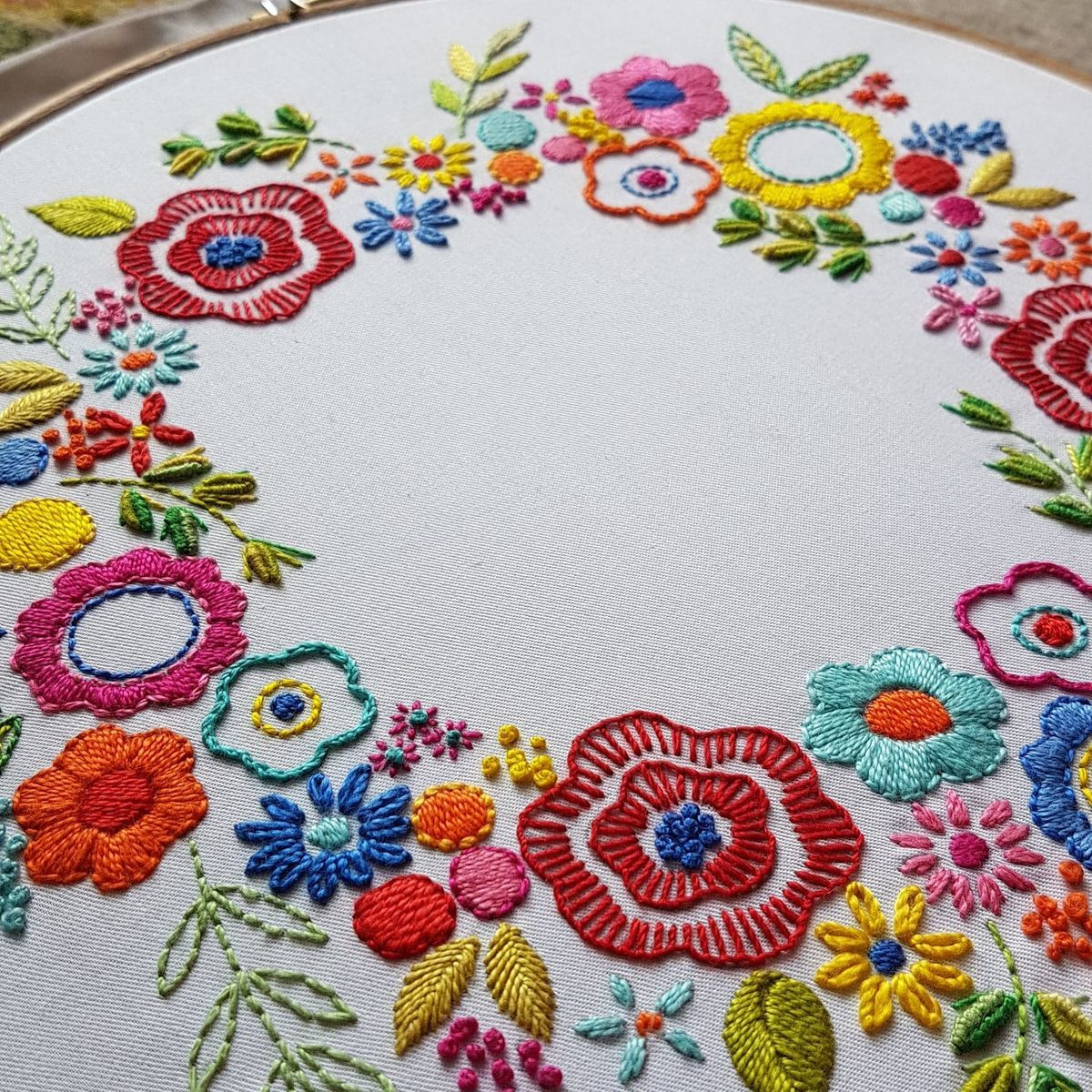 Printed Embroidery Pattern Floral Wreath - product image